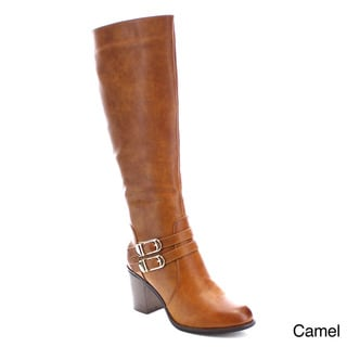 Beston AA84 Women's Side Zipper Chunky Knee High Boots