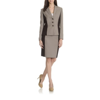 Tahari Arthur S. Levine Women's Houndstooth Printed 2-Piece Skirt Suit