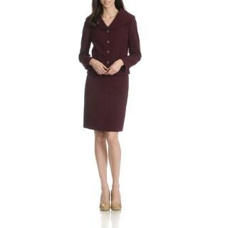 Tahari Arthur S. Levine Women's Shawl Collar Textured 2-Piece Skirt Suit