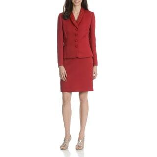 Tahari Arthur S. Levine Women's Red Textured 2-Piece Skirt Suit