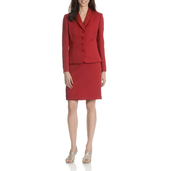 Tahari Arthur S. Levine Women's Red Textured 2-Piece Skirt Suit
