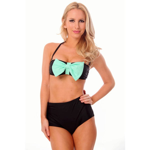 Dippin' Daisy's Black and Mint Bows Bandeau High Waist Bikini
