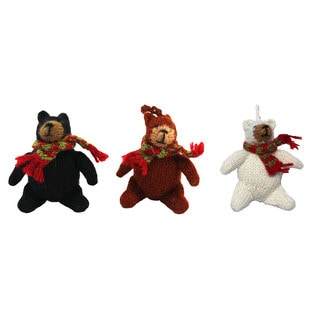 Set of 3 Alpaca Bear Ornaments (Ecuador)