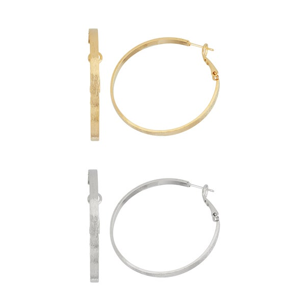 Isla Simone- Gold Brushed Hoop - 40mm - Silver Brushed Hoop - 40mm