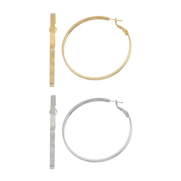 Isla Simone- GOLD BRUSHED HOOP - 50MM - SILVER BRUSHED HOOP - 50MM