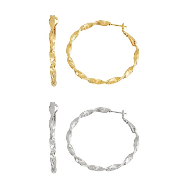Isla Simone- GOLD TWISTED HOOP - 40MM - SILVER TWISTED HOOP 40MM
