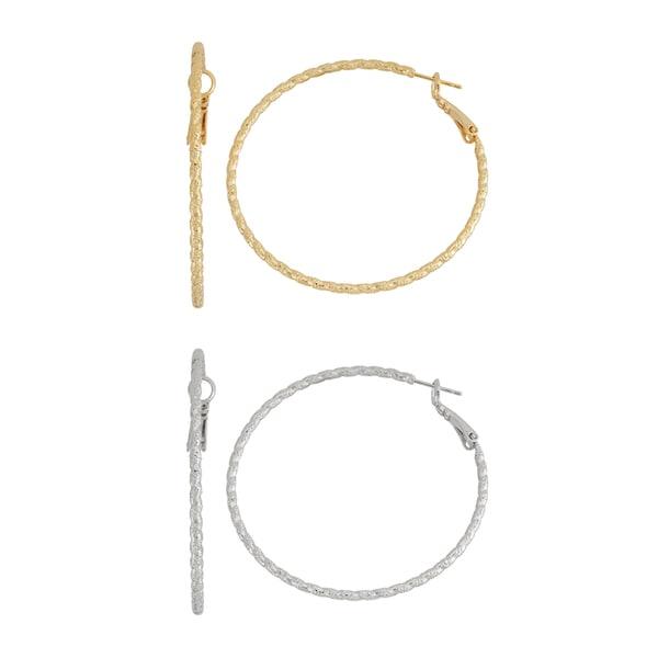 Isla Simone- SILVER WAVY HOOP - 50MM - GOLD WAVY HOOP - 50MM