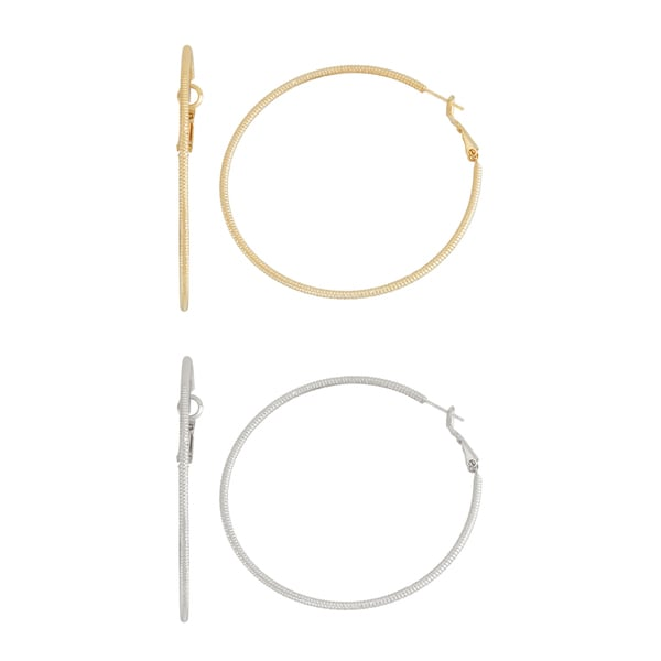 Isla Simone- GOLD BEADED HOOP - 60MM - SILVER BEADED HOOP - 60MM