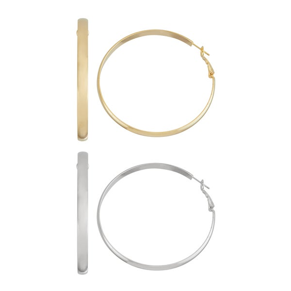 Isla Simone- GOLD ROUNDED HOOP - 60MM - SILVER ROUNDED HOOP - 60MM