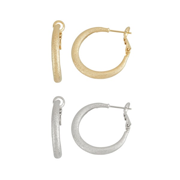 Isla Simone- GOLD DIAMOND CUT HOOP 25MM, SILVER DIAMONDCUT HOOP 25MM