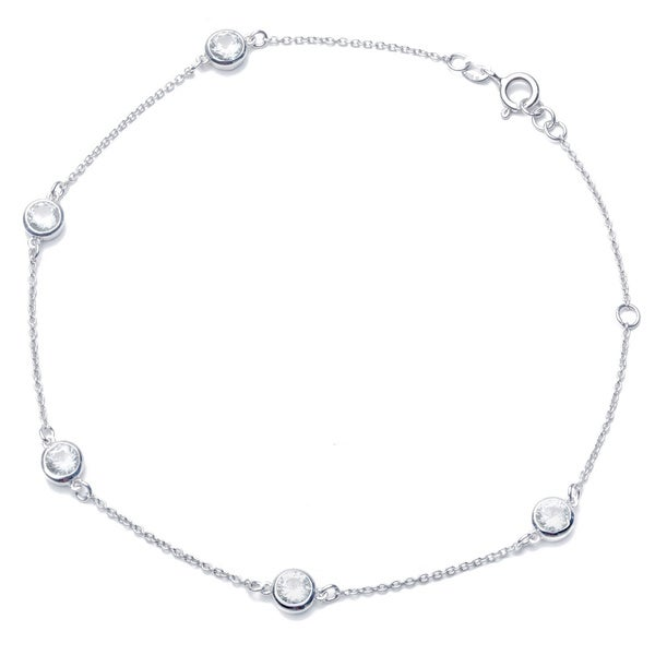 Blue Box Jewels Rhodium Plated Sterling Silver By-the-Yard Chain Anklet