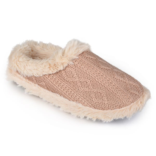 Journee Collection Women's Cable Knit Memory Foam Slippers