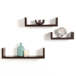 Walnut Brown Set of three U Floating Wall Rack Decoration Shelves