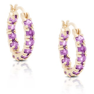 Dolce Giavonna Gold over Silver or Sterling Silver Amethyst Hoop Earrings