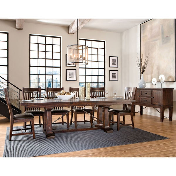 Hayden Rough Sawn Espresso Trestle Dinette Table