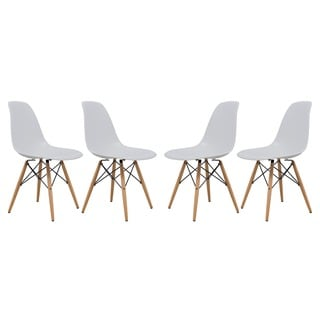 LeisureMod Dover White Side Chair (Set of 4)