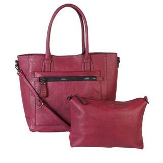 Diophy Front Zipper Pocket Metal Studded Bottom Tote Handbag