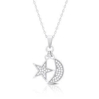 Dolce Giavonna Sterling Silver Cubic Zirconia Celestial Charm Necklace
