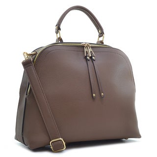 Dasein Buffalo Faux Leather Dome Satchel with Shoulder Strap
