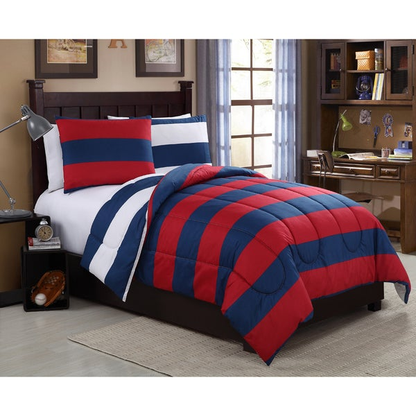 VCNY Cameron Rugby Stripe Navy/ Red Comforter Set