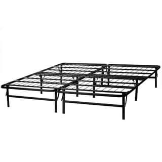STRUCTURES by Malouf HIGHRISE Folding Metal Bed Frame 14 Inch High Bi-Fold Platform Bed Base and Box Spring Full