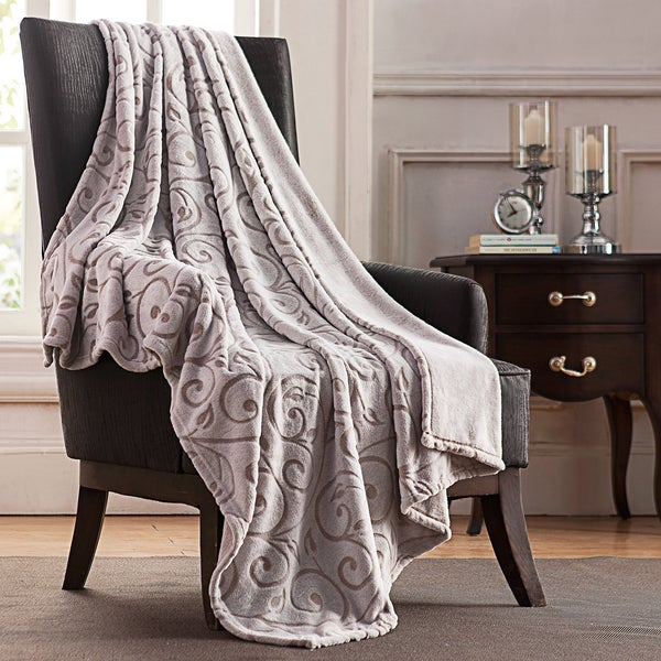 Sandra Two Tone Jacquard Scroll Throw