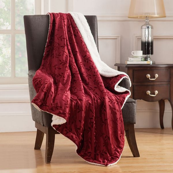 Nilda Embossed Mink Reversible Throw