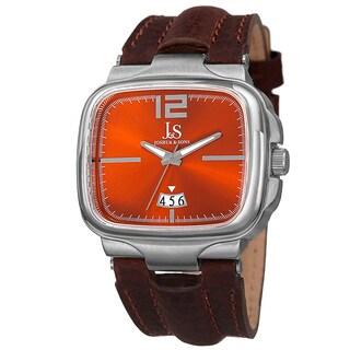 Joshua & Sons Men's Quartz Date Leather Orange Strap Watch