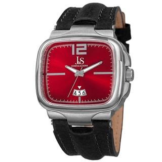 Joshua & Sons Men's Quartz Date Leather Red Strap Watch