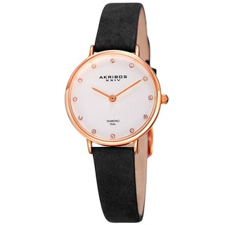 Akribos XXIV Women's Japanese Quartz Diamond Markers Crazy Horse' Leather Strap Watch