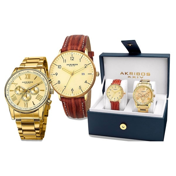 Akribos XXIV Men's Swiss Quartz Multifunction Gold-Tone Strap/Bracelet Watch Set - Gold with Gift Box 16619698