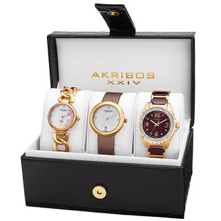 Akribos XXIV Women's Quartz Diamonds Bracelet/Gold-Tone Strap Watches Set