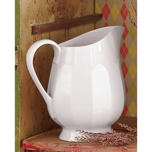 TAG Large Flea Market Fluted Pitcher, White