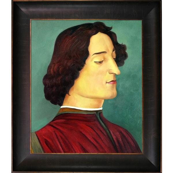 Sandro Botticelli 'Giuliano de Medici' Hand Painted Framed Canvas Art