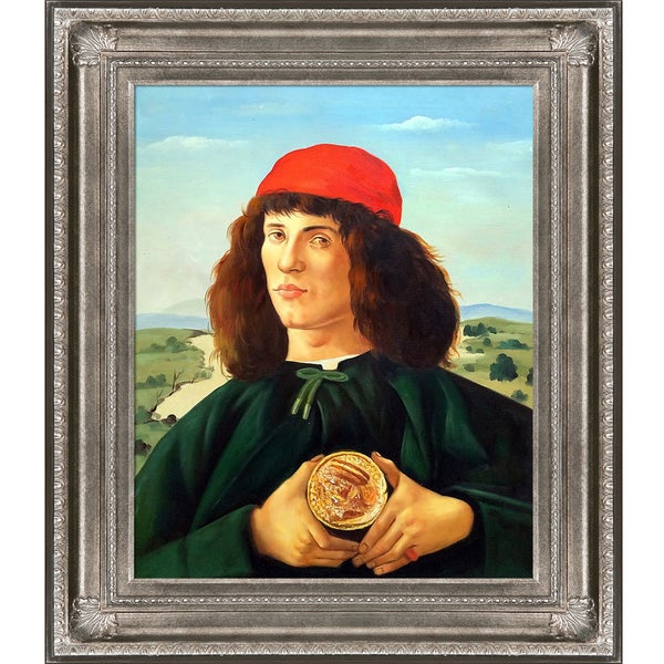Sandro Botticelli 'Portrait of a Man with the Medal of Cosimo' Hand Painted Framed Canvas Art