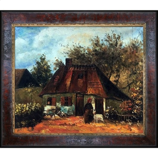 Vincent Van Gogh 'Cottage and Woman with Goat' Hand Painted Framed Canvas Art