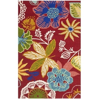 Safavieh Indoor/ Outdoor Hand-Hooked Four Seasons Red/ Multi Rug (2'4 x 4')