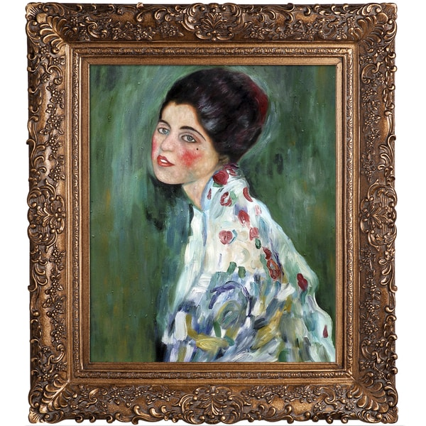 Gustav Klimt 'Portrait of a Lady, 1916-1917' Hand Painted Framed Canvas Art