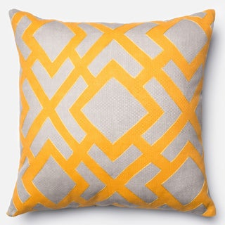 Printed Geometric Grey/ Gold Down Feather or Polyester Filled 22-inch Throw Pillow or Pillow Cover