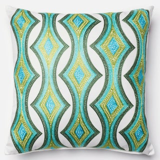 Embroidered Retro Green/ Multi Down Feather or Polyester Filled 18-inch Throw Pillow or Pillow Cover