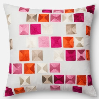 Embroidered Mosaic Pink/ Multi Down Feather or Polyester Filled 18-inch Throw Pillow or Pillow Cover