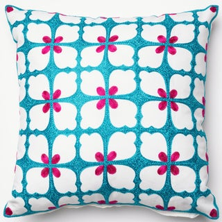 Embroidered Spring Flower Blue/ Pink Down Feather or Polyester Filled 18-inch Throw Pillow or Pillow Cover