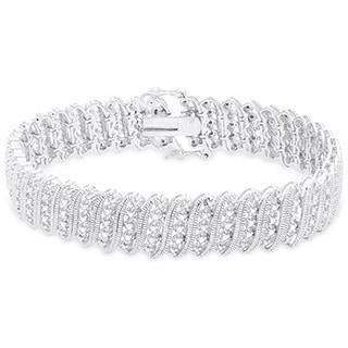 Finesque Sterling Silver 1/2ct TDW Diamond 'S' Link Bracelet (I-J, I2-I3)