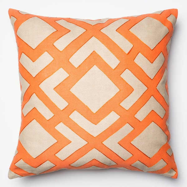 Printed Geometric Beige/ Orange Down Feather or Polyester Filled 22-inch Throw Pillow or Pillow Cover