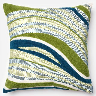Embroidered Abstract Blue/ Green Down Feather or Polyester Filled 22-inch Throw Pillow or Pillow Cover