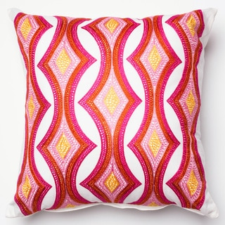 Embroidered Retro Pink/ Multi Down Feather or Polyester Filled 18-inch Throw Pillow or Pillow Cover