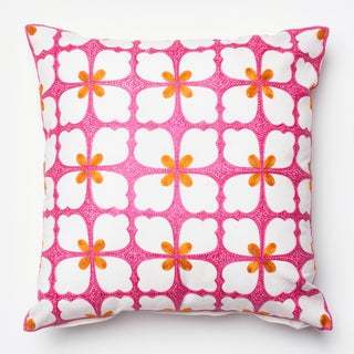 Embroidered Spring Flower Pink/ Orange Down Feather or Polyester Filled 18-inch Throw Pillow or Pillow Cover