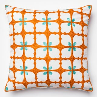 Embroidered Spring Flower Orange/ Aqua Down Feather or Polyester Filled 18-inch Throw Pillow or Pillow Cover
