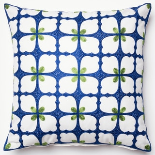 Embroidered Spring Flower Navy/ Green Down Feather or Polyester Filled 18-inch Throw Pillow or Pillow Cover