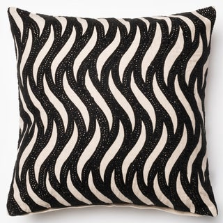 Flocked Wave Natural/ Black Down Feather or Polyester Filled 18-inch Throw Pillow or Pillow Cover